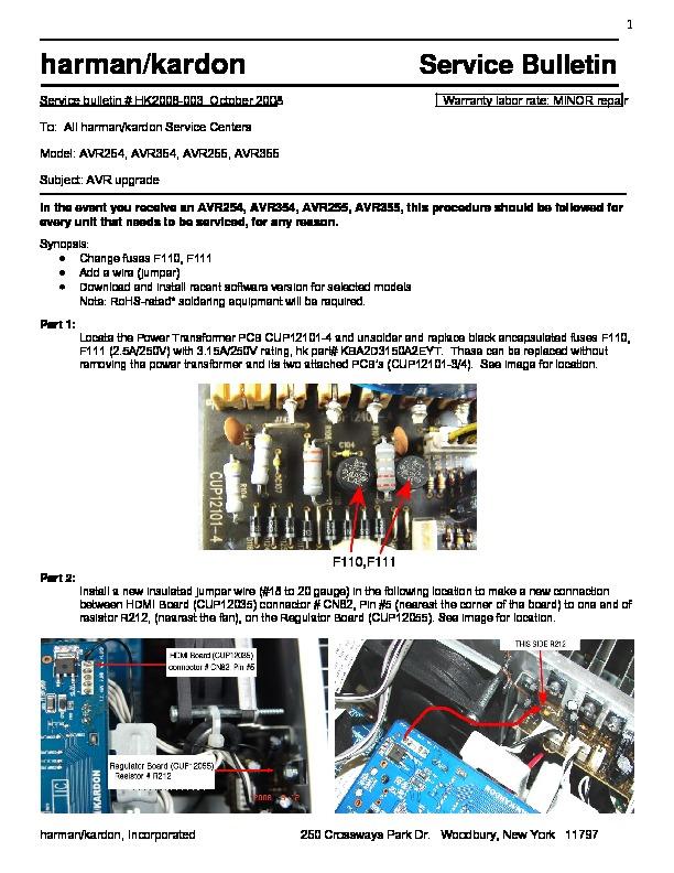 harman kardon avr 255 serv man6 technical bulletin free download rh servicemanuals us Repair Manuals harman kardon avr 255 service manual & repair guide
