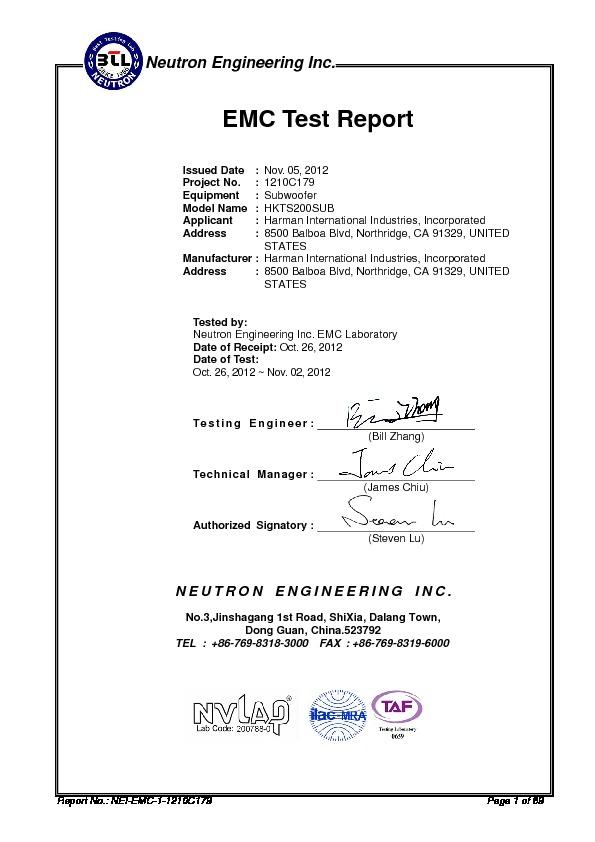 Harman Kardon HKTS 200SUB (SERV MAN2) EMC - CB Certificate - FREE