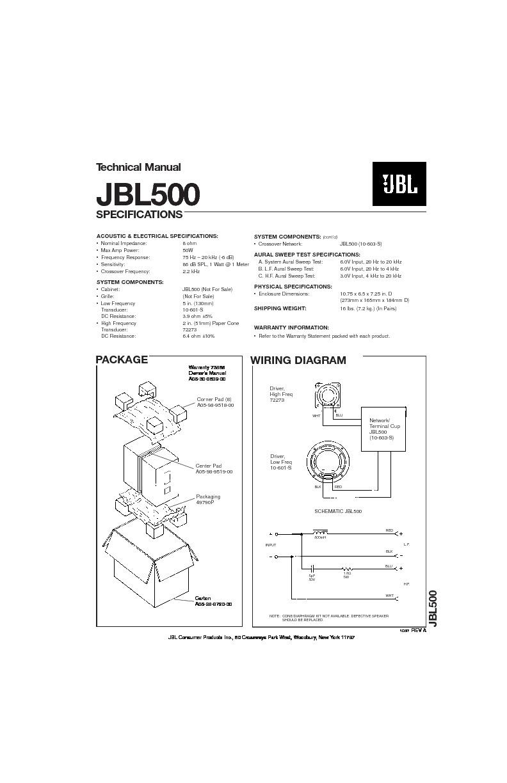 jbl jbl 500 service manual