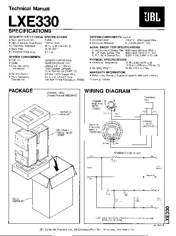 Jbl Lxe 330 Service Manual