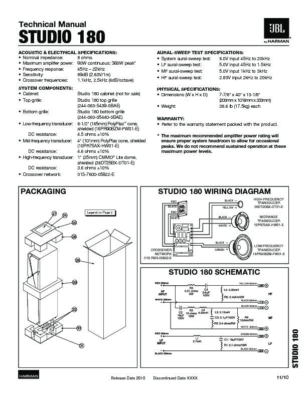 Jbl Studio 180 Service Manual