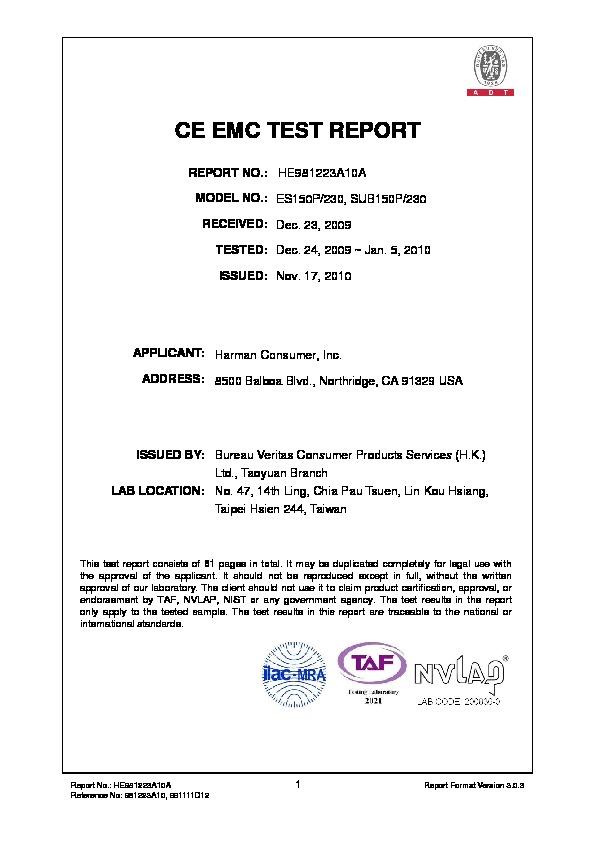 JBL SUB 150P (SERV MAN4) EMC - CB Certificate - FREE DOWNLOAD