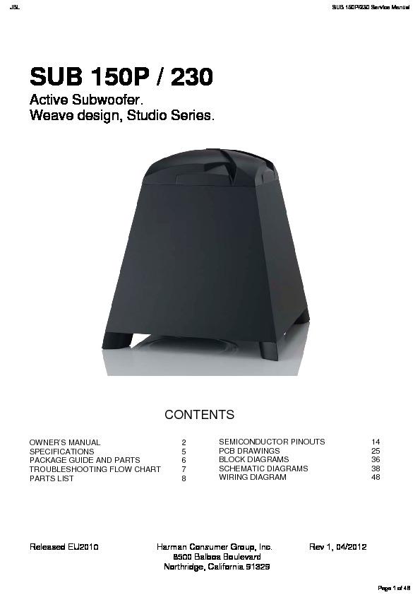 Jbl Sub 150p Service Manual