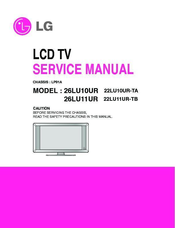 lg 26lu10ur 26lu11ur chassis lp91a service manual free download rh servicemanuals us lg owner's manual plasma tv service manual lg tv led