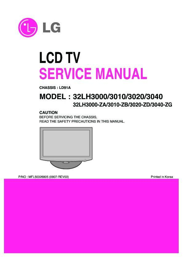 Lg 32lh3000 32lh3010 32lh3020 32lh3040 Chassis Ld91a Service Manual Free Download