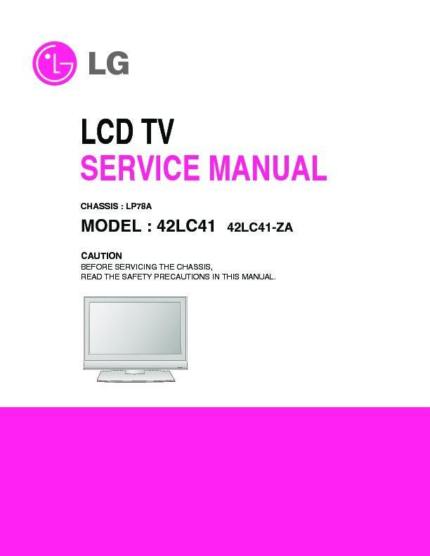 Lg 42lc41  Chassis Lp78a  Service Manual