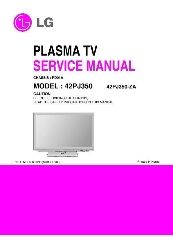 Lg 42pj350 Za 42pj350n Za Chassis Pd01a Service Manual Free Download