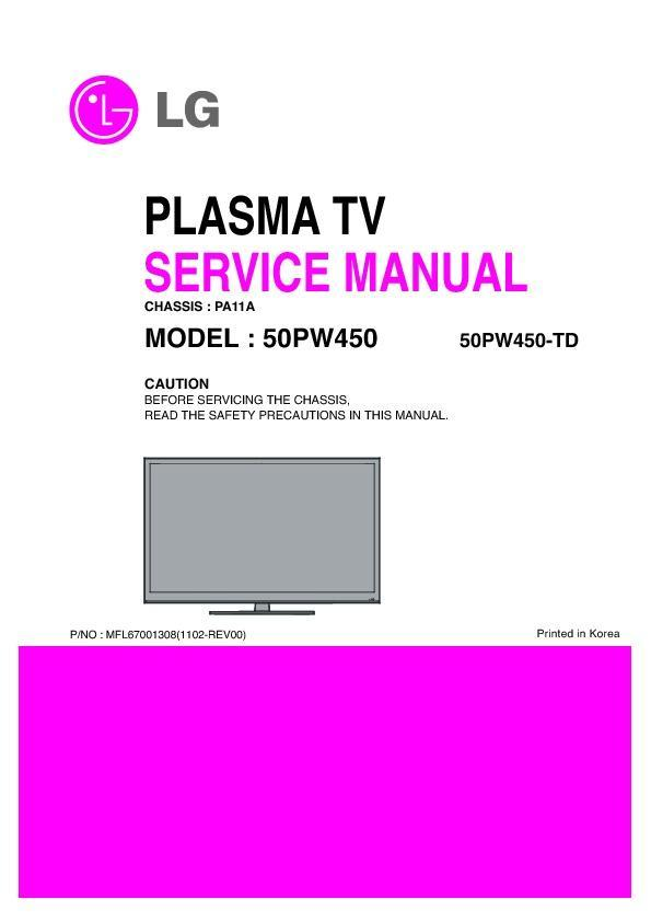 LG 50PW450-TD (CHASSIS:PA11A) Service Manual - FREE DOWNLOAD