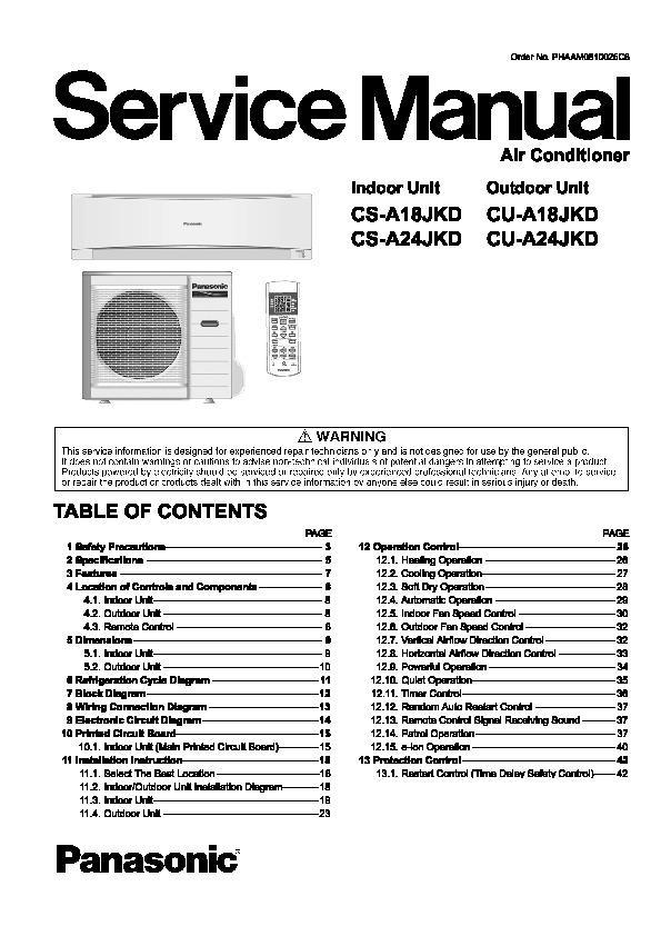 panasonic cs a18jkd cu a18jkd cs a24jkd cu a24jkd service manual rh servicemanuals us Panasonic TV Manual Panasonic Viera Manual