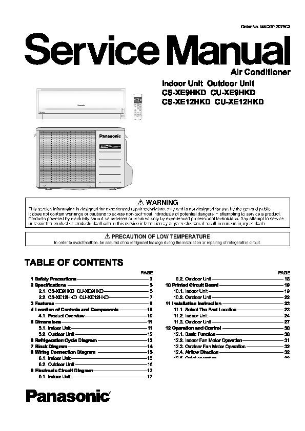 panasonic cs xe9hkd cs xe12hkd cu xe9hkd cu xe12hkd service rh servicemanuals us Panasonic TV Manual Manual Panasonic Radio