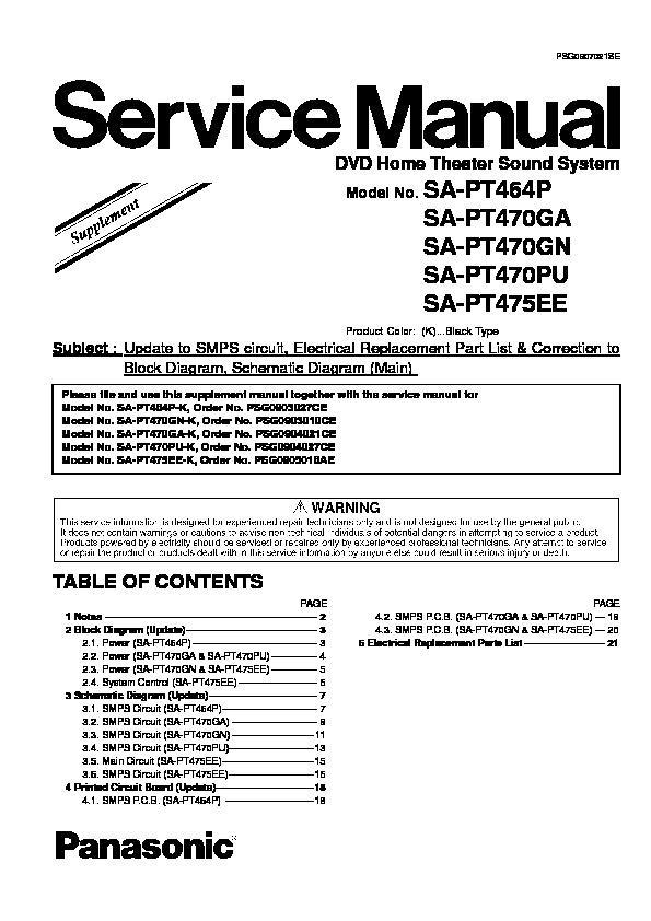 Panasonic SA-PT464P, SA-PT470GA, SA-PT470GN, SA-PT470PU, SA-PT475EE ...