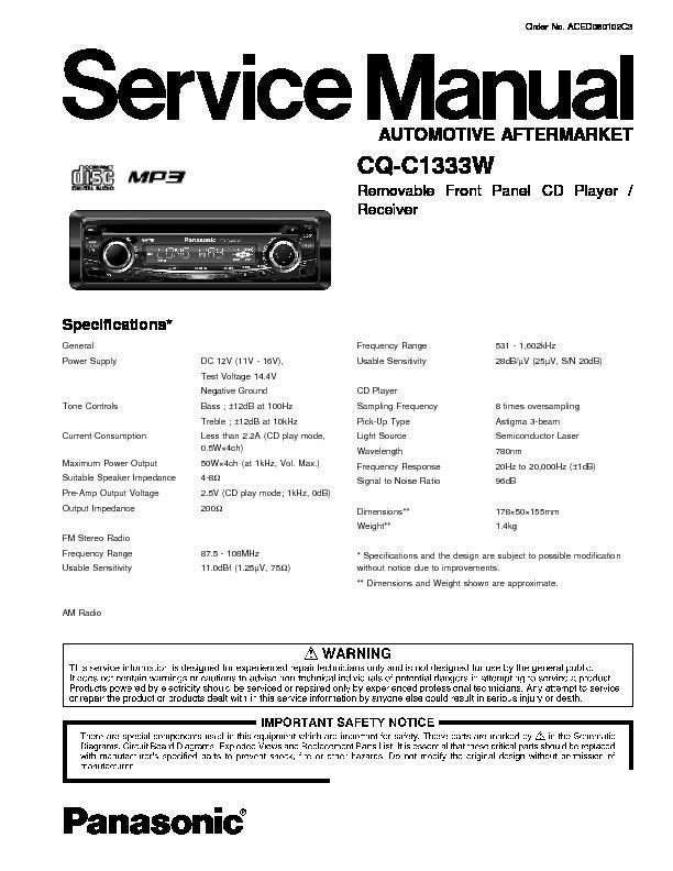 panasonic cq c1333w service manual free download rh servicemanuals us Panasonic CQ Rx100u Wire Schematic Panasonic CQ Rx100u Installation