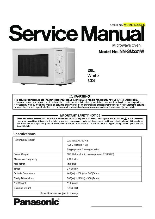 Panasonic Nn Sm221wzpe Sm221wzte