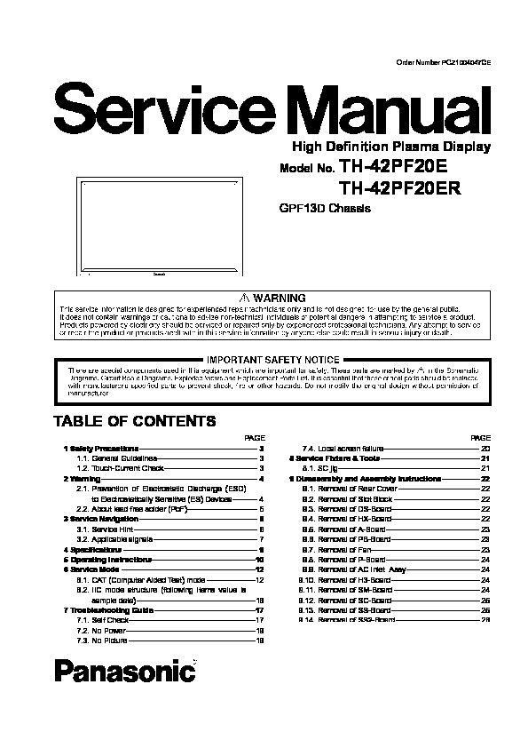 panasonic th 42pf20e th 42pf20er service manual free download rh servicemanuals us panasonic viera service manual panasonic viera service manual