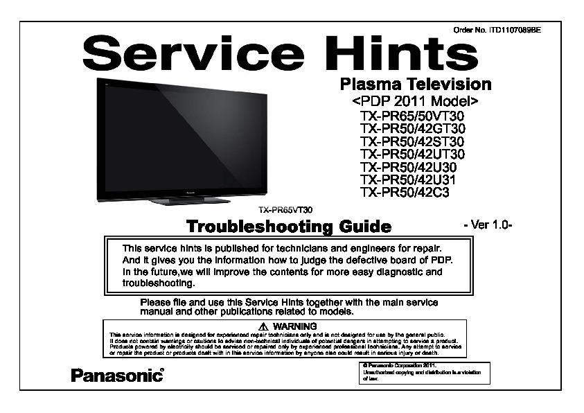panasonic plasma st60 us manual