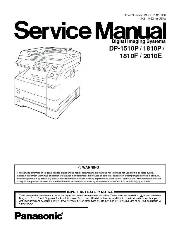 panasonic dp 1510p dp 1810p dp 1810f dp 2010e service manual rh servicemanuals us Vintage Panasonic Copier Copier Technician