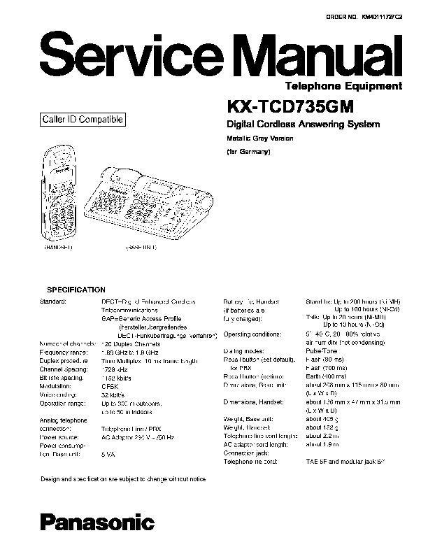 Panasonic Kx-tcd735gm Service Manual