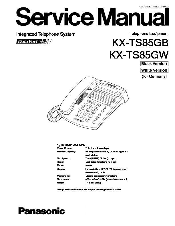 panasonic kx-ts85gb  kx-ts85gw service manual
