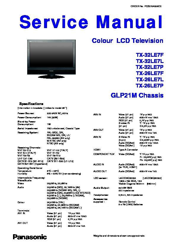 Panasonic Tx 32le7f Tx 32le7l Tx 32le7p Tx 26le7f Tx border=