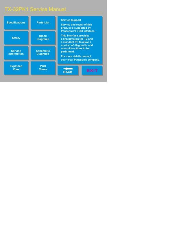 Panasonic Tx 32pk1 Tx 32dt2 Tx 28dt2 Service Manual border=