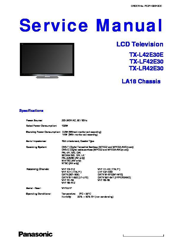 Panasonic Tx L42e30e Tx Lf42e30 Tx Lr42e30 Service border=