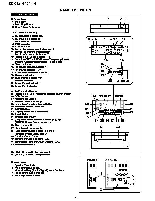 sharp cd-c421h  serv man4  service manual