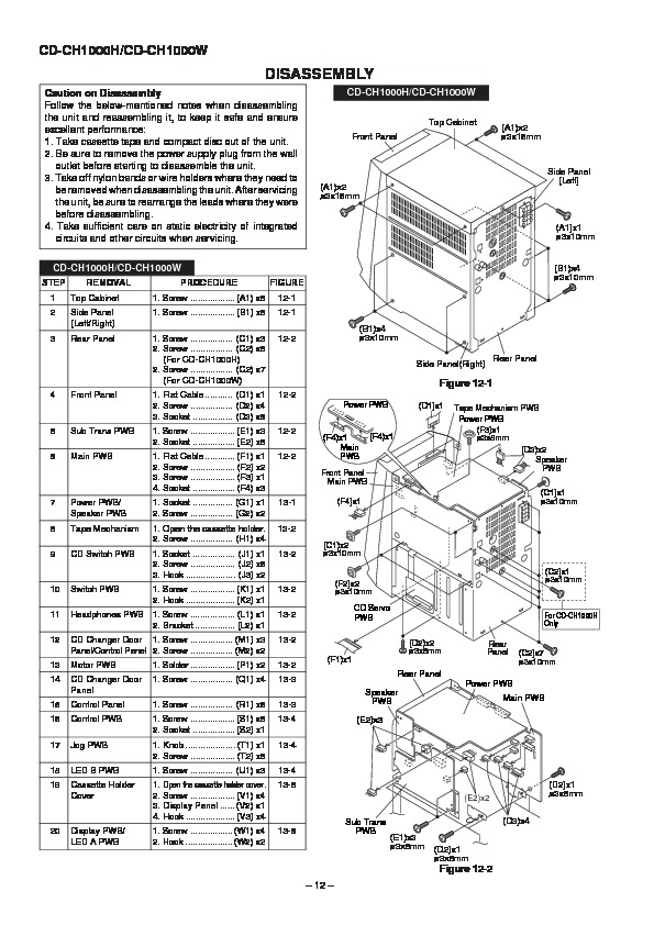 sharp cd-ch1000  serv man2  user guide    operation manual