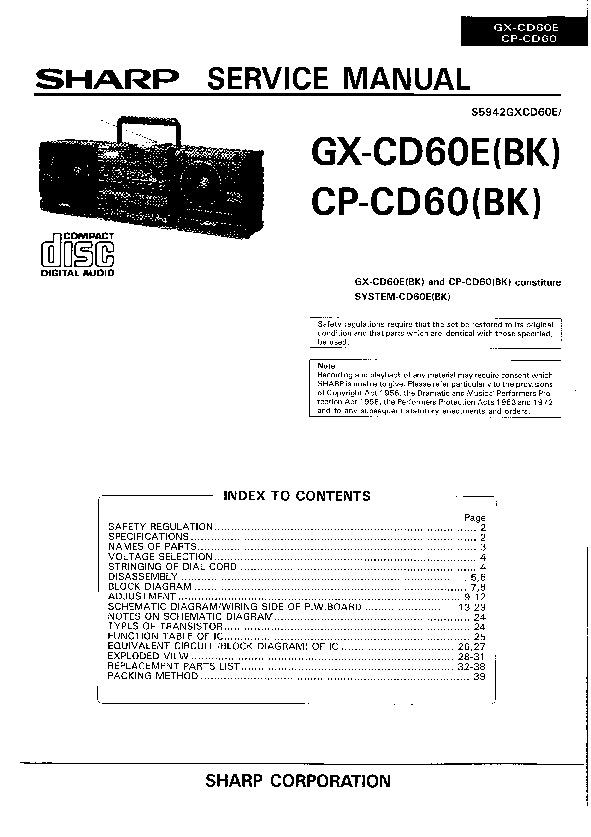 sharp gx cd60 serv man2 service manual free download rh servicemanuals us sharp audio system manual rrmcga175awsa Sharp Wireless Surround Sound System