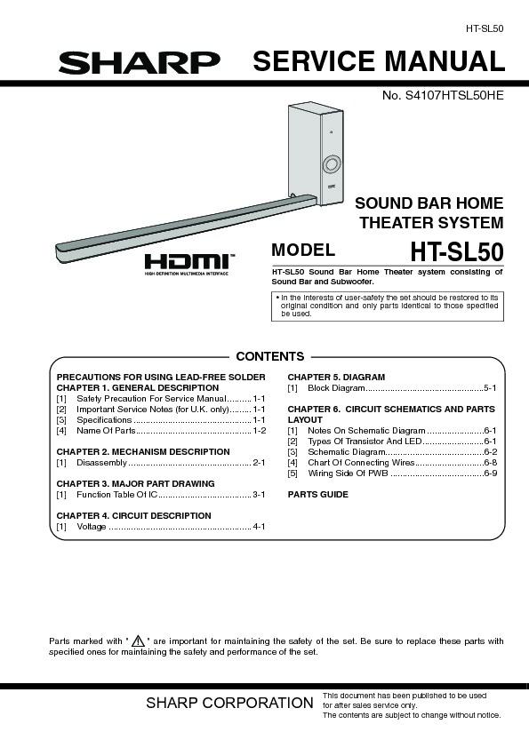 sharp ht sl50 serv man3 service manual free download rh servicemanuals us Parts Manual Auto Repair Manual