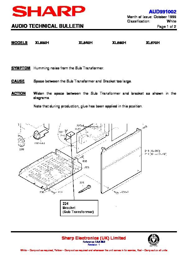 sharp xl-530h  serv man6  technical bulletin