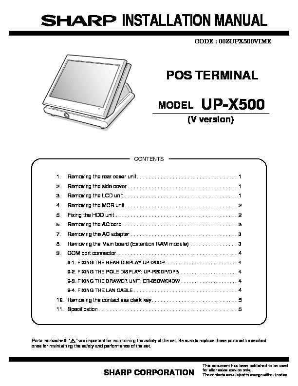 sharp up x500 serv man4 service manual free download up x500