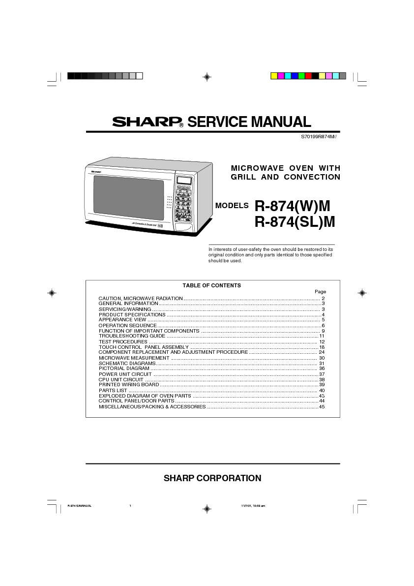 Sharp R 874 Servman6 Parts Guide Free Download List Wiring Diagram Microwave Oven Servman2 Service Manual
