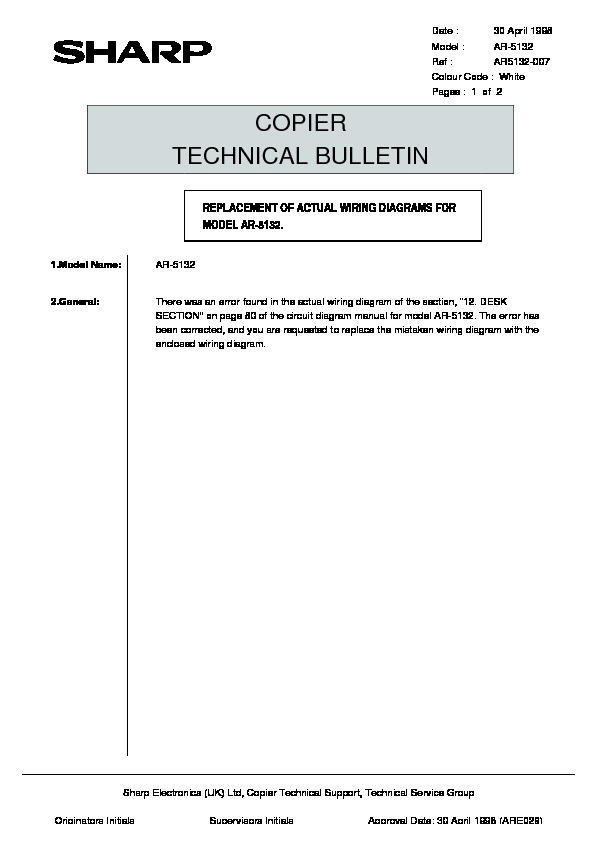 Sharp Ar-5132  Serv Man129  Technical Bulletin
