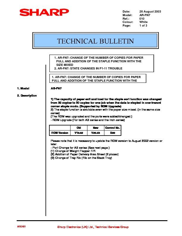 Sharp Ar-fn7  Serv Man8  Technical Bulletin
