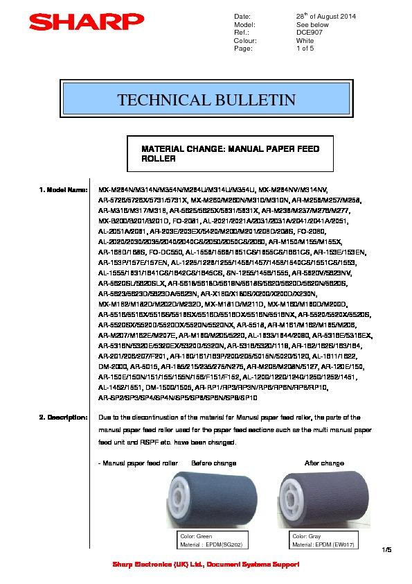 Sharp Ar-rp3  Serv Man7  Technical Bulletin