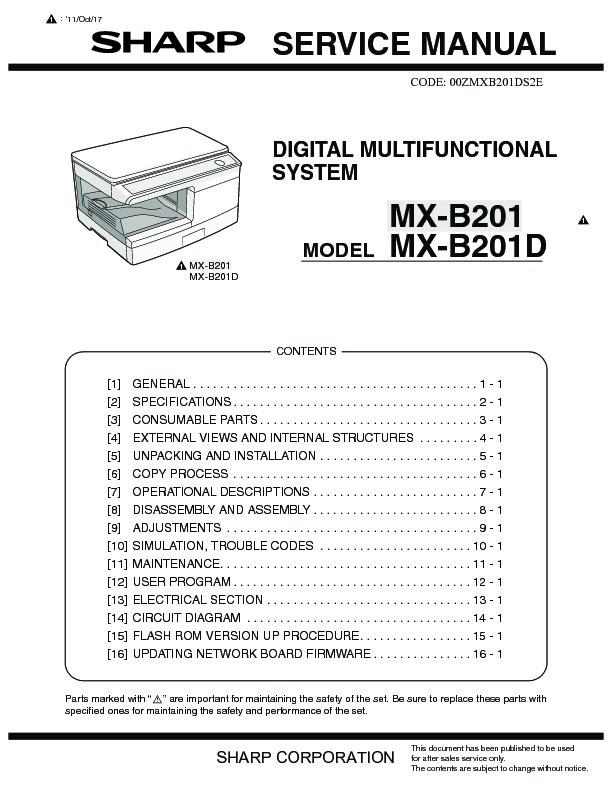 Sharp Mx-b201d  Serv Man9  Service Manual