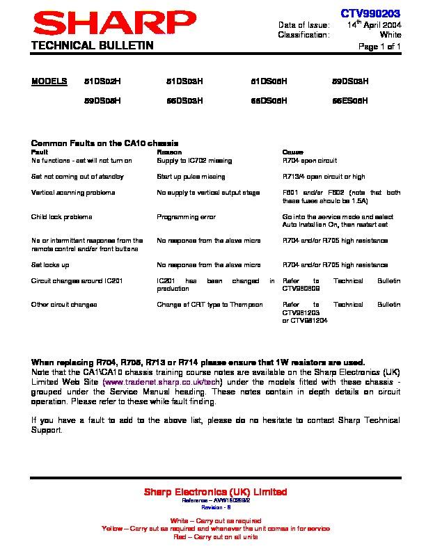 Sharp 51ds-02h  Serv Man14  Technical Bulletin