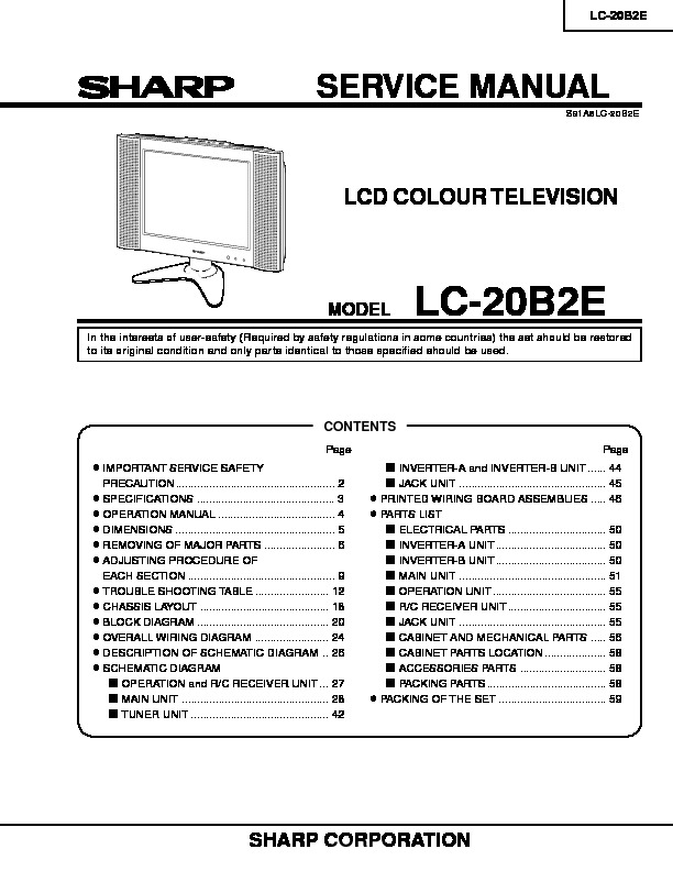 Sharp Lc-20b2e  Serv Man3  Service Manual