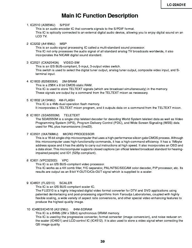 Sharp LC-22AD1E (SERV MAN9) Service Manual - FREE DOWNLOAD   (9