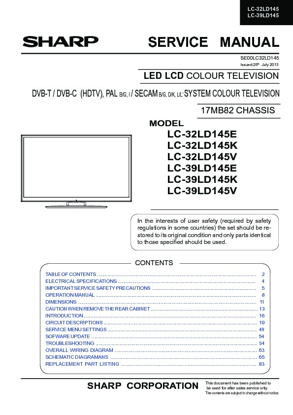 sharp lc 32ld145e service manual free download rh servicemanuals us sharp tv service manual pdf sharp tv 21 service manual