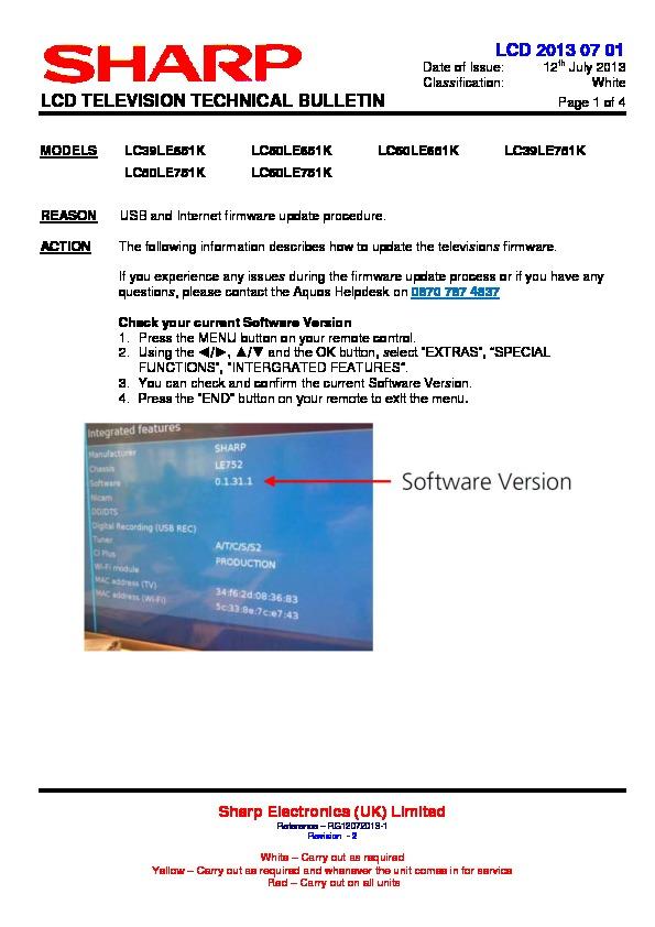 Sharp LC-39LE651K (SERV MAN11) Technical Bulletin - FREE
