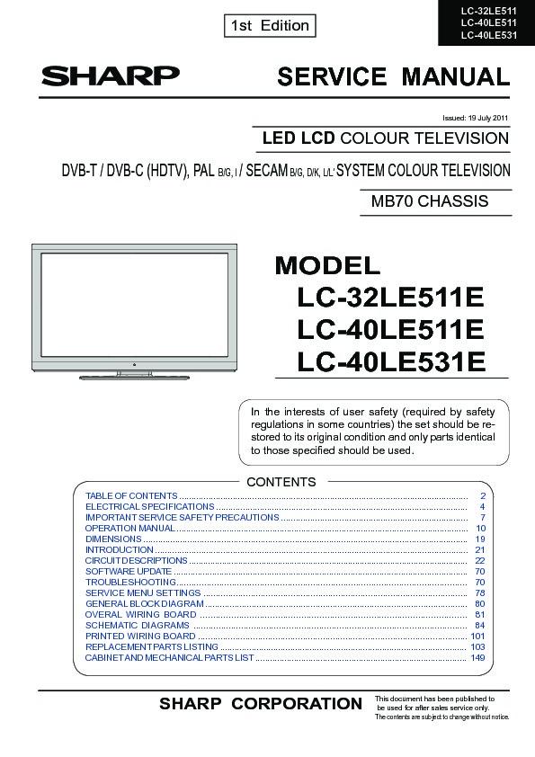 Sharp Lc-40le531e  Serv Man2  Service Manual
