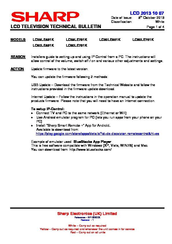 Sharp LC-50LE751K (SERV MAN23) Technical Bulletin - FREE