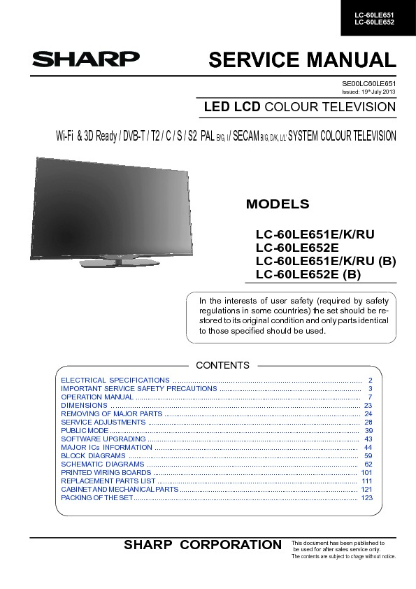 sharp lc 60le651k serv man3 service manual free download rh servicemanuals us colour tv repair manual Samsung TV Repair