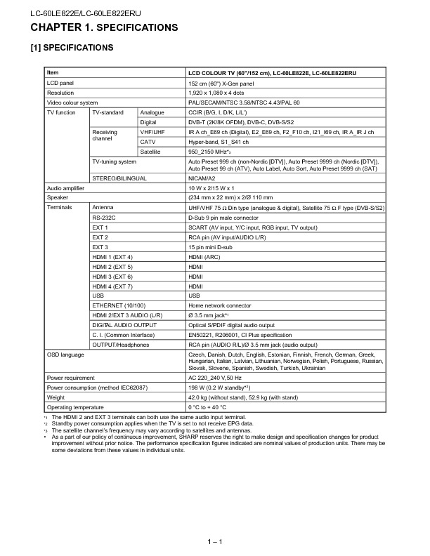 sharp lc-60le822e  serv man14  service manual