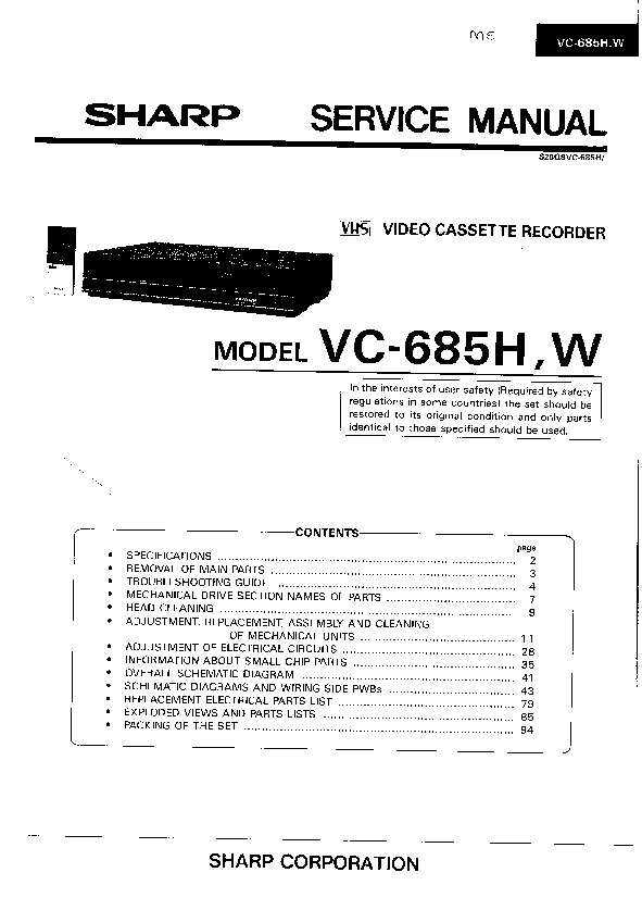Sharp Vcr Service Manuals Page 2