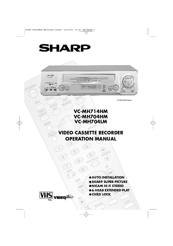 sharp vc mh704 serv man7 user guide operation manual free rh servicemanuals us Sharp VCR Remote Sharp TV VCR