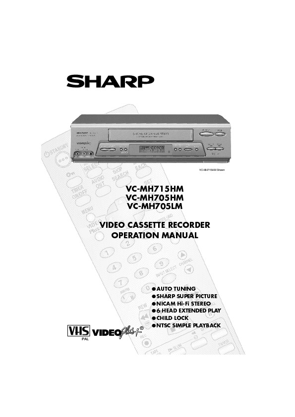 sharp vc mh705 serv man16 user guide operation manual free rh servicemanuals us Sharp TV VCR sharp vcr manual archives