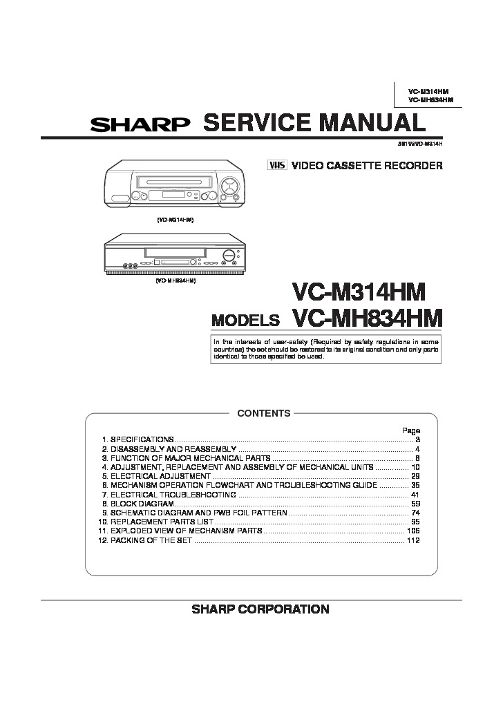 Sharp Vc Mh814 Servn2 Service Manual Free Download Service