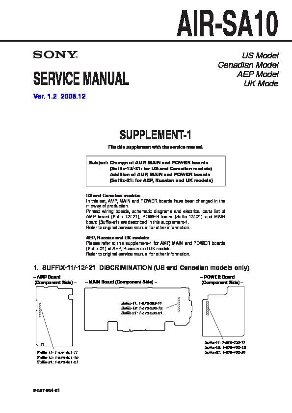 Sony Air-sa10  Dav-hdx277wc  Davhdx576wf  Dav-hdx678wf  Dav-hdx975wf Service Manual